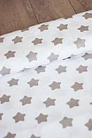 """Ткань бязь 100% хлопок """"Серые звезды"""", 160 см, фото 1"""