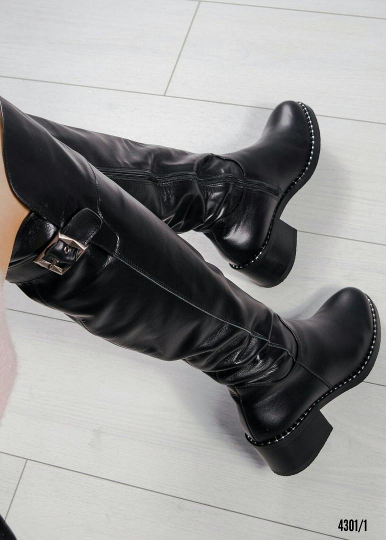 Ботфорты женские кожаные с пряжкой черные