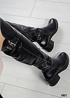 Ботфорты женские кожаные с пряжкой черные, фото 1