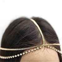 Красивое украшение на голову со стразами (Золото), фото 1