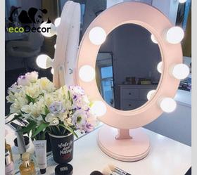 Подарунок дівчині на новий рік-Дзеркало для макіяжу рожеве