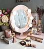 Подарунок дівчині на новий рік-Дзеркало для макіяжу рожеве, фото 2