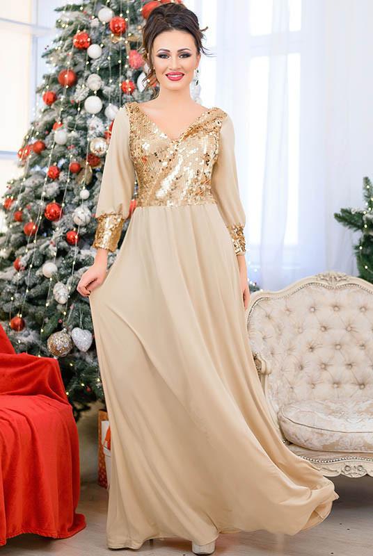 Длинное вечернее платье Жасмин, бежевое