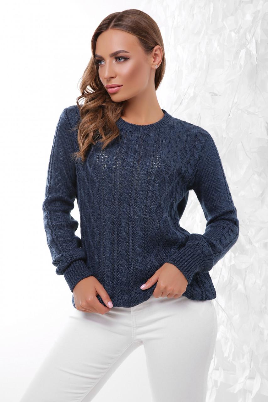 Стильний жіночий светр з круглою горловиною і красивою в'язкою, колір джинс