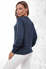 Стильний жіночий светр з круглою горловиною і красивою в'язкою, колір джинс, фото 2