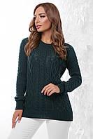 Базовый женский вязаный однотонный свитер с красивым узором, темно-зеленый