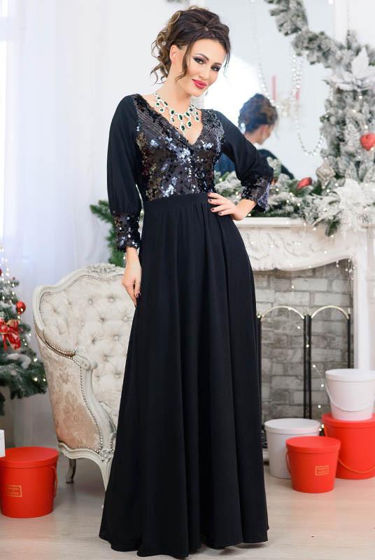 Чорна вечірня сукня з паєтками Жасмин