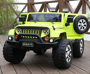 Детский 2-х моторный электромобильв стиле  Jeep с кожаными сиденьями, M 3445 EBLR-5 зеленый