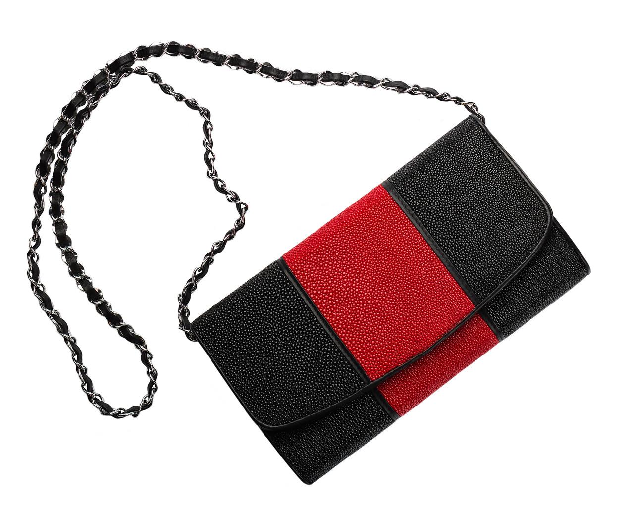 Клатч из кожи морского ската Ekzotic Leather Красный (sb08)