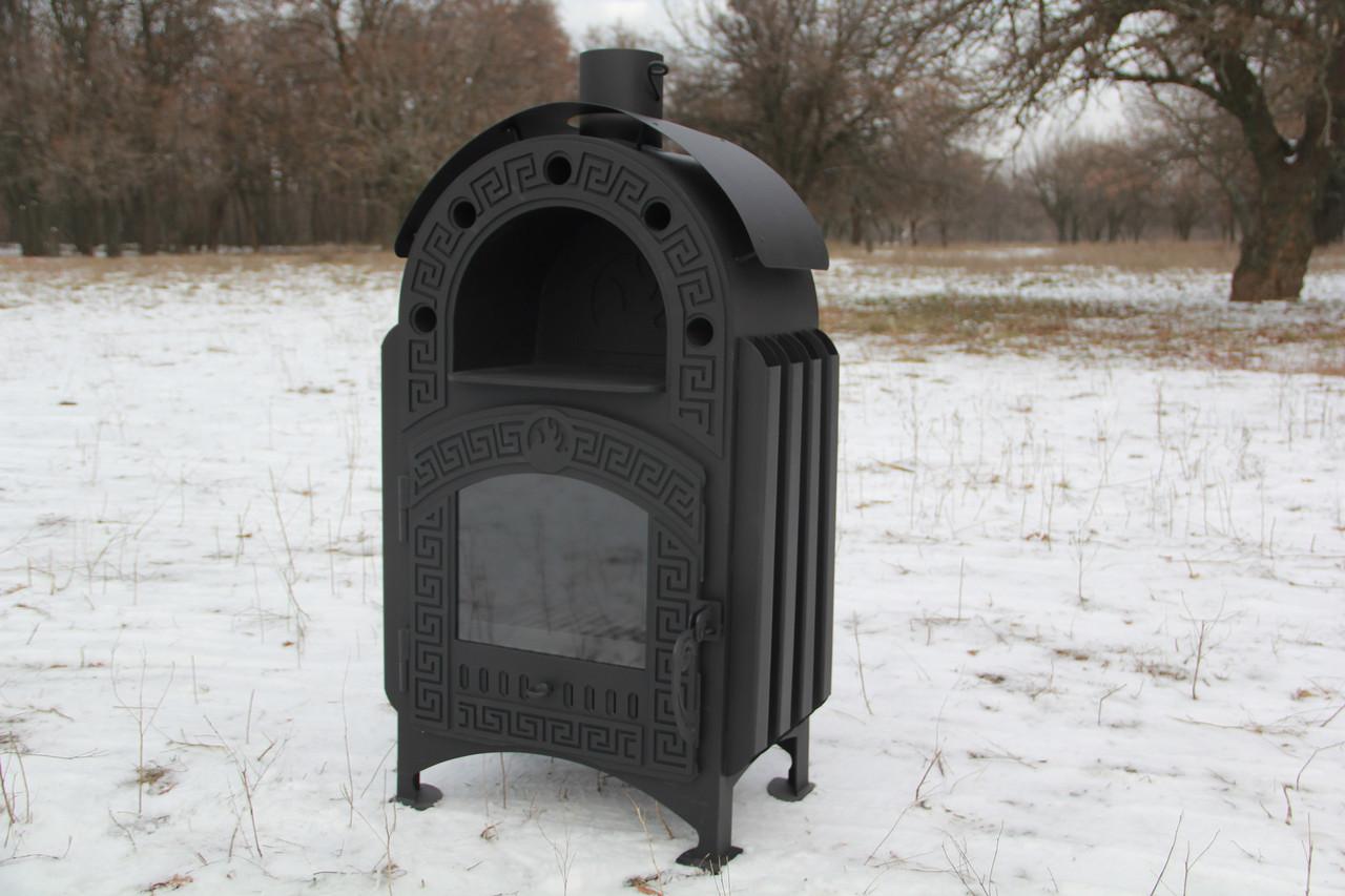"""Печь-камин на дровах """"Везувий"""" с принудительной конвекцией, сталь 4-8мм"""