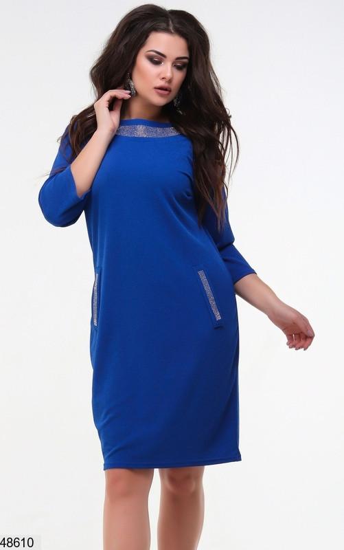 Жіноче плаття демісезонне колір-електрик розміри: 48-50,52-54