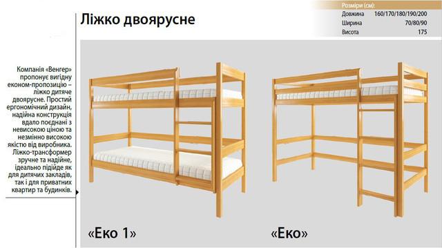 Кровать двухъярусная Эко-1 (характеристики)