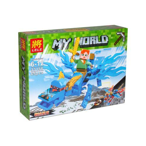 "Конструктор ""My World Майнкрафт: Голубой дракон"",  65 деталей"