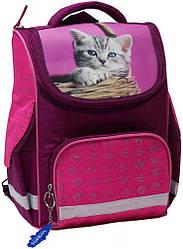 Рюкзак школьный каркасный Bagland Успех 12 л. Малина (котенок в корзинке) (00551702)
