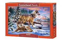 """Пазлы """"Волки на снегу"""", 500 элементов (зима, снег, звери, природа, дикие животные, животный мир)"""