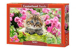 """Пазлы """"Котёнок в саду"""", 500 элементов (коты, котята, кошка, котенок, сад, цветы)"""
