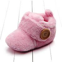 Детские новогодние пинетки Унты, розовые сапожки на новорожденную девочку (3, 6, 9, 12, 18 месяцев)