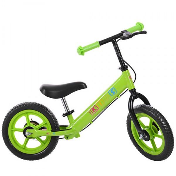 Детский двухколесный беговел с тормозом Profi Kids 12 дюймов, M 3440B-4 зеленый