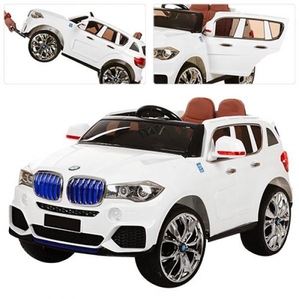 Детский электромобиль в стиле BMW X5 с кожаным сиденьем, M 2762 (MP4) EBLR-1 белый