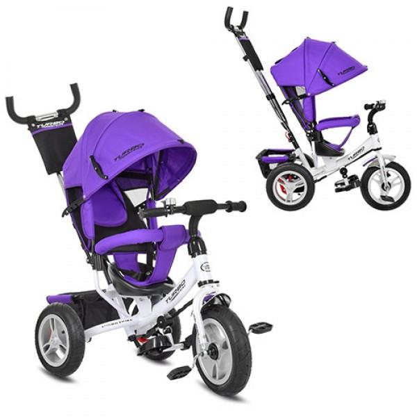 Трехколесный велосипед колясочного типа на надувных колесах (диаметр 12/10), Turbotrike M 3113-8A фиолетовый