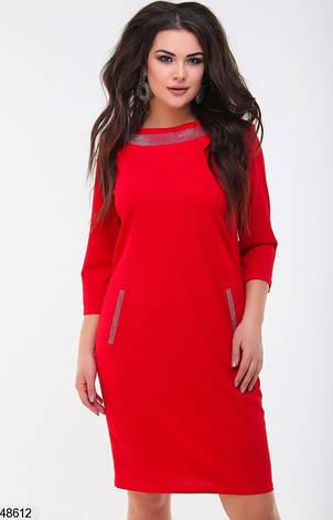 Женское платье демисезонное цвет-ярко-красный размеры: 48-50,52-54, фото 2