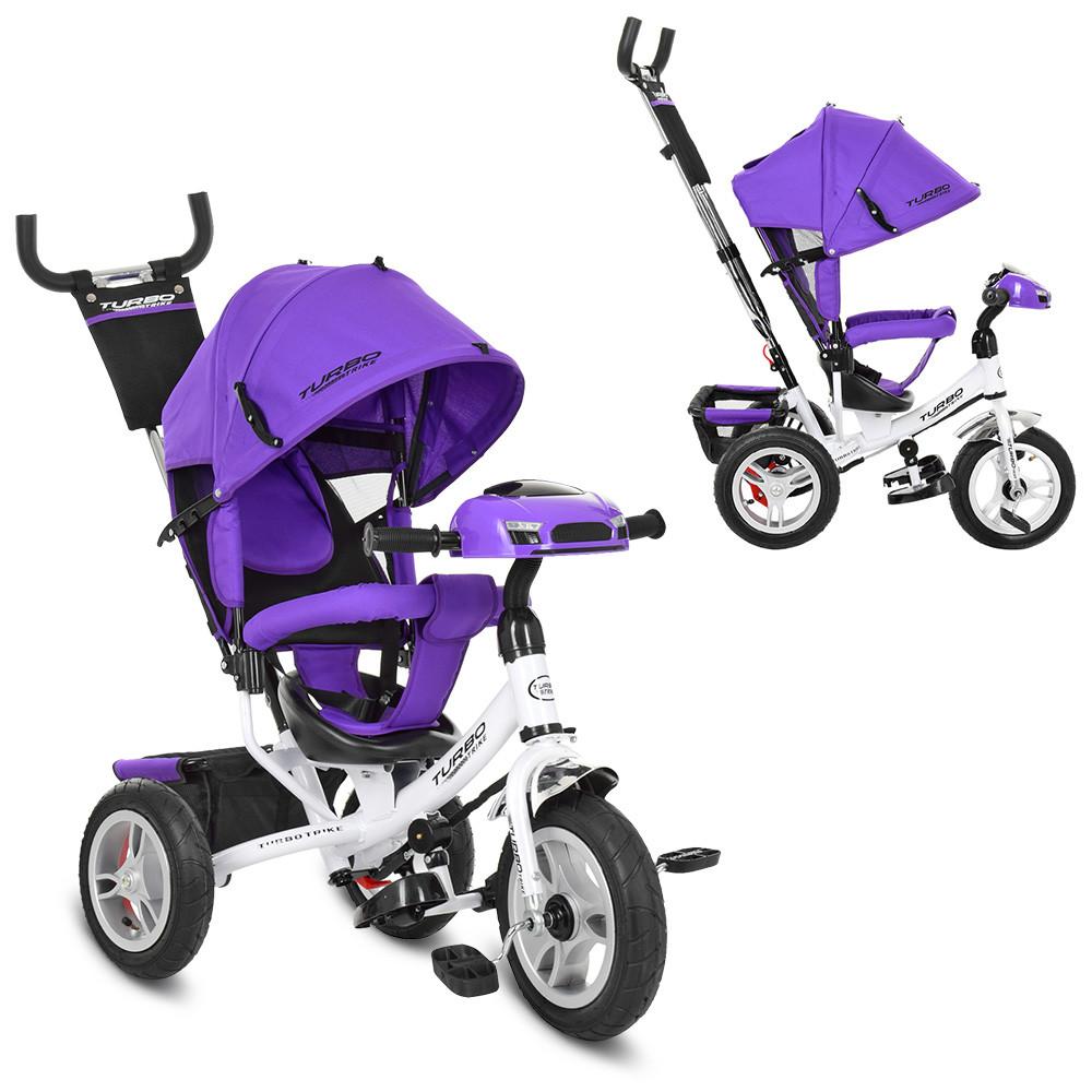 Трехколесный велосипед колясочного типа на надувных колесах (диаметр 12/10) с фарой, Turbotrike M 3115-8HA фиолетовый