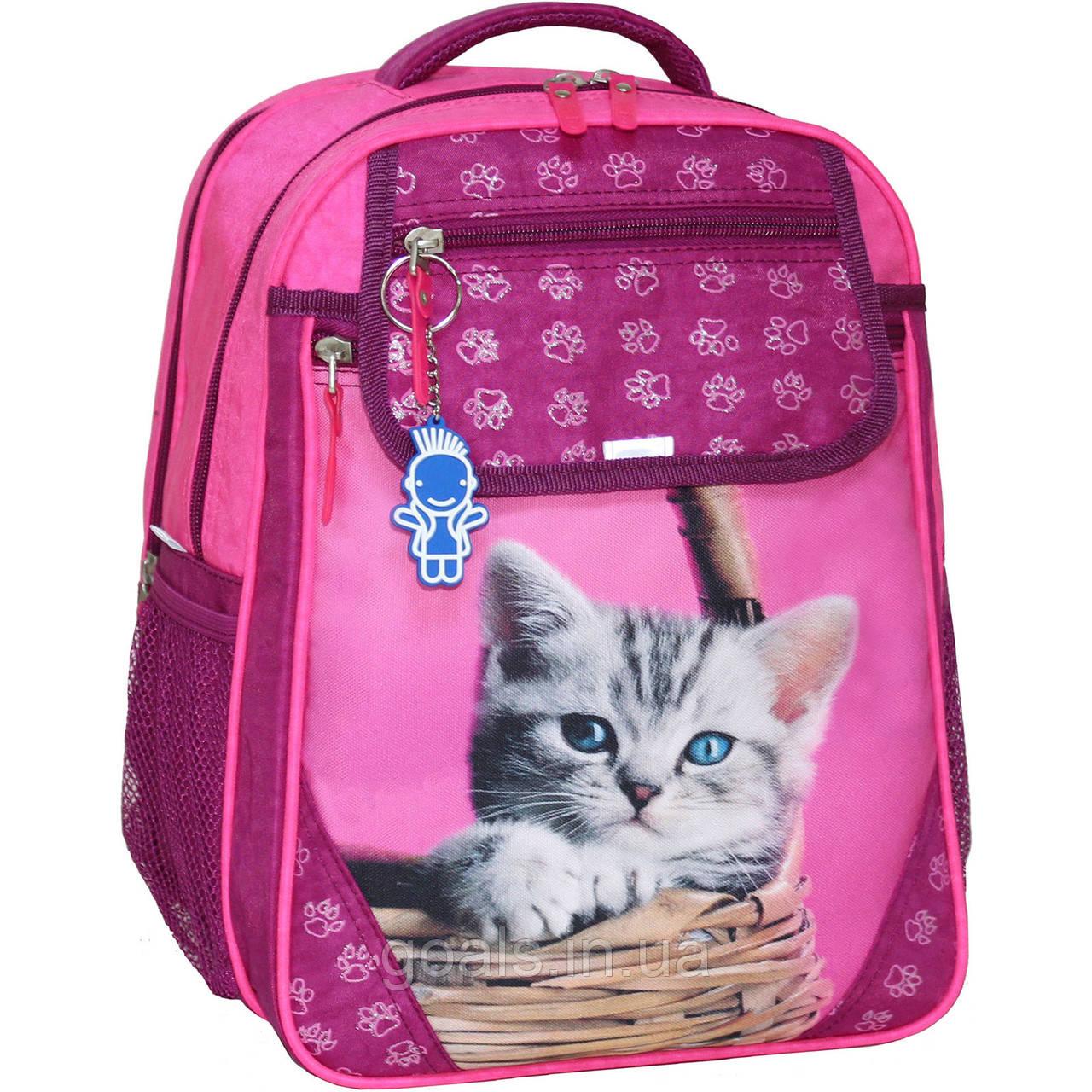 Рюкзак школьный Bagland Отличник 20 л. Малина (котенок в корзинке) (0058070)