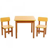 Столик деревянный и 2 стульчика, F094 желтый