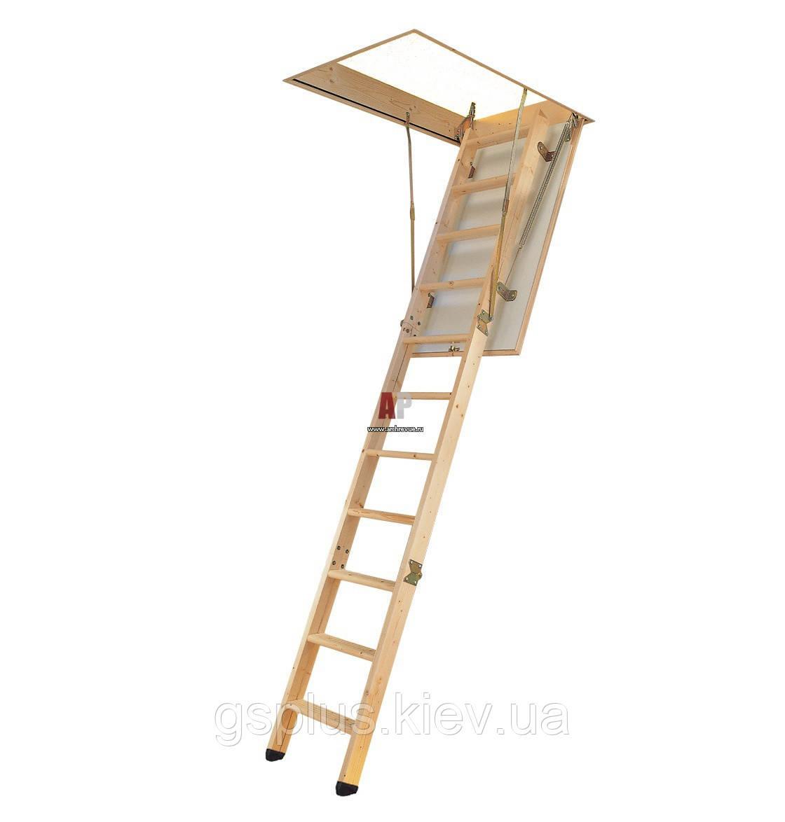 Деревянная складная лестница с люком VELTA Премиум