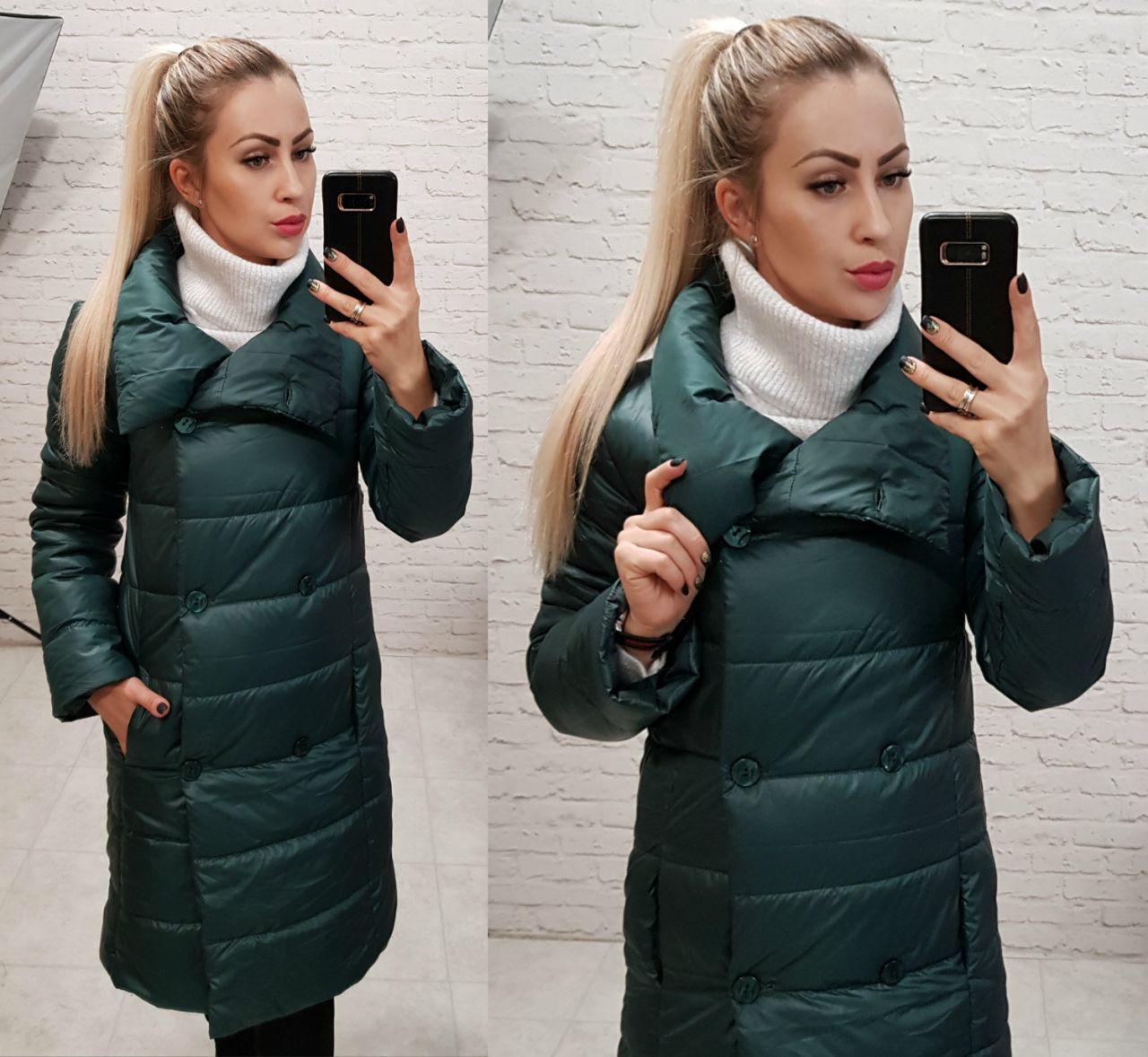 Куртка пальто, модель 1002 п/батал, цвет - бутылочка