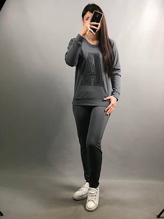 """Стильный спортивный женский костюм кофта+брюки """"Дайвинг на флисе"""" 44 размер батал, фото 2"""
