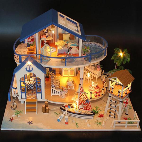 Мальчику, взрослому DIY miniature House интерьерный 3D-конструктор LEGEND OF SEA + LED подсветка