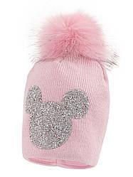 Детская зимняя шапка на девочку Микки, розовая, Флис, Объём 48-50