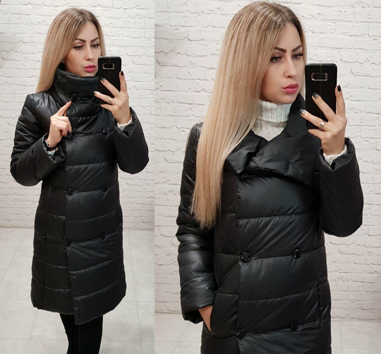 Куртка пальто, модель 1002 п/батал, цвет - черный