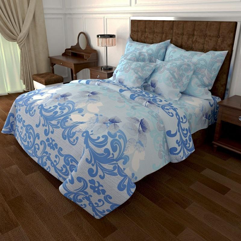 Постельный комплект  Голубой с орнаментом из Бязи