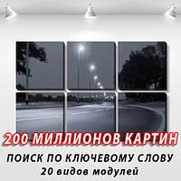 Модульная картина, холст, Город ночью, 62x95см.  (30x30-6)