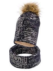 Детская зимняя шапка + хомут на Меху, для девочки, в расцветках, Объём 50-52
