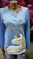 """Теплый, мягкий, нежный к телу домашний костюм, пижама """"Единорог"""", размеры от 48р до 52, фото 2"""