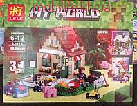Конструктор Lele серия My World 33016 569 деталей Времена года 3в1  (аналог Lego Майнкрафт, Minecraft)