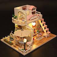 Подарок девочке DIY miniature House интерьерный 3D-конструктор РУМБОКС Pink Loft + LED подсветка, фото 2
