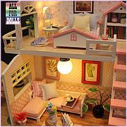 Подарок девочке DIY miniature House интерьерный 3D-конструктор РУМБОКС Pink Loft + LED подсветка, фото 5