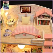 Подарок девочке DIY miniature House интерьерный 3D-конструктор РУМБОКС Pink Loft + LED подсветка, фото 7