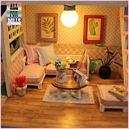 Подарок девочке DIY miniature House интерьерный 3D-конструктор РУМБОКС Pink Loft + LED подсветка, фото 8