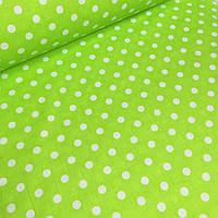 """Ткань бязь 100% хлопок """"Белый горошек на зеленом"""", 160 см"""