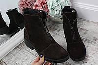 Ботинки зимние Zarra на низком ходу впереди молния шоколад. Натуральный замш, фото 1