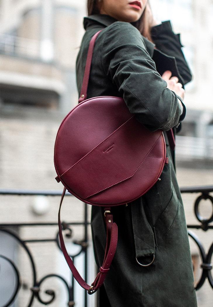 Кожаная женская сумка-рюкзак MAXI BlankNote BN-BAG-30-vin виноград