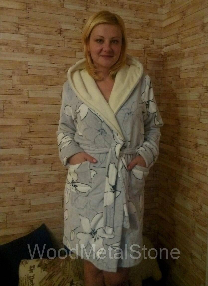 d52de3ab8b067 Теплый красивый женский махровый халат 42-50, доставка по Украине