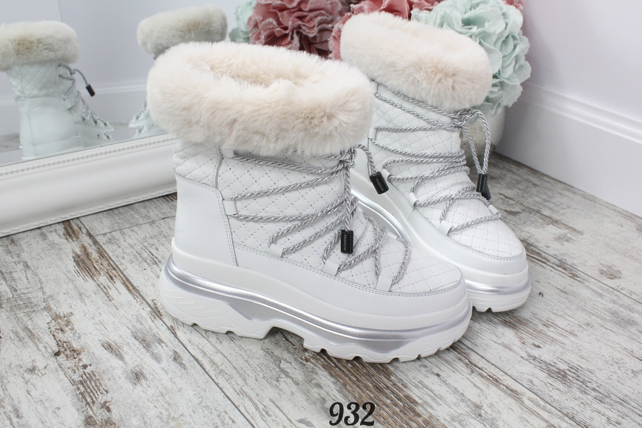 Ботинки зимние Magenta с опушкой белые со шнуровкой. Натуральная кожа., фото 1