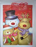 Пакет сумочка новогодний подарочный бумажный большой 45*32,5 см, фото 3