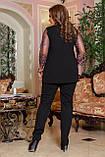 Нарядный брючный костюм женский Креп дайвинг и вышивка на сетке  Размер 48 50 52 54 56 58 В наличии 2 цвета , фото 3